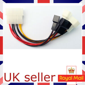 4 Pin Molex to 4 x 3 Pin Fan Adapters Cable 2 Speed Fan Splitter Cable UK SELLER