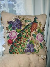 Antique Victorian plushwork and beadwork needlework peacock cushion/pillow
