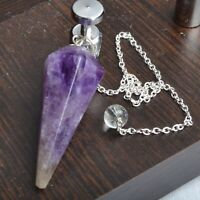 40-50 MM Natural Amethyst Crystal Dowsing Pendulum With chain Healing Stone
