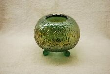 GREAT FENTON FROSTED CAMPHOR CARNIVAL GLASS FINE CUT & GRAPE ROSE BOWL 1970'S
