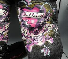 Ed Hardy Love Kills Slowly Knee High Boots Fur Lined Side Zipper Size 6 Eur 37