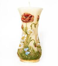 Poppy Handmade Handpainted  Decor Paraffin Wax Candle