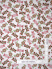 Christmas Peppermint Candy Toss White Cotton Fabric Kanvas Studio - By The Yard