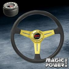 350mm Gold PU Deep Dish Racing Steering Wheel + 6 Bolt Hub Adapter Toyota/Scion