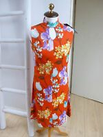 true vintage chinese style floral stretchy summer/tea/festival dress size  S