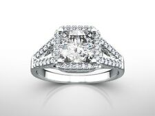 Ring Enhanced White Gold 18K 3 Ct Princess H/Vs1 Diamond Solitaire