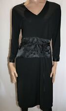 BASQUE Brand Black Long Sleeve Floral Wrap Style Shift Dress Size 16 BNWT #LIN
