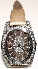 MELANIA TRUMP Crystal Inlaid & Genuine GOLDEN TAN Leather Band Watch
