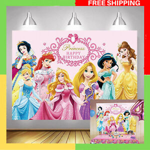 Disney Princess Background Pink Backdrop for Girl Birthday Party Kids