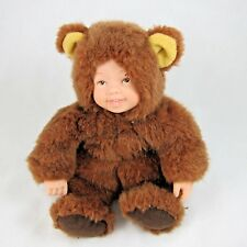 """Vintage Anne Geddes Baby Bears Cuddly Baby Doll Bear Costume 6"""" tall 1997"""