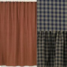 Sturbridge Plaid Cotton Shower Curtain 72x72 Wine Black Navy