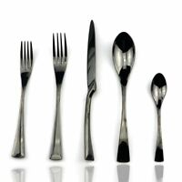 18/10 Stainless Steel 20 Piece Mirror Polished Black Flatware Set,Service for 4