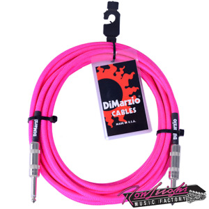 Dimarzio Braided Neon Pink 10 Foot Pro Electric Guitar Lead Straight to Straight