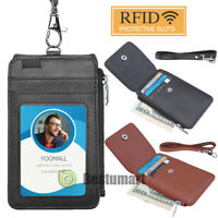 RFID Blocking ID Badge Card Holder PU Leather Vertical Neck Lanyard Bag+Pull Tab