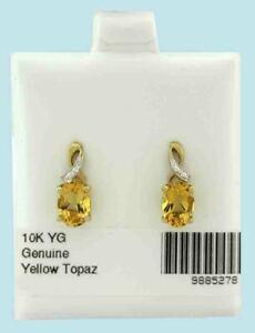 GENUINE 2.28 Cts YELLOW TOPAZ DANGLING EARRINGS 10K GOLD * Free Certificate *