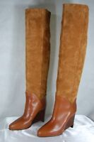 MAISON MARTIN MARGIELA WEDGE TAN SUEDE SLOUCH OVER THE KNEE BOOTS EU 38 US 8