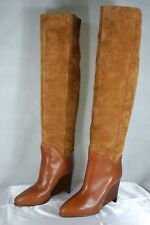 MAISON MARTIN MARGIELA WEDGE TAN SUEDE SLOUCH OVER THE KNEE BOOTS EU 37 US 37