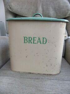 Vintage enamel bread bin in original condition