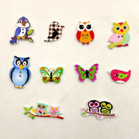 BG_ GC- JT_ 50Pcs Mixed Cartoon Animal 2 Holes Wood Button Sewing Scrapbook DIY