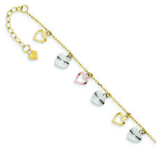 Ladies 14K Yellow, Rose & White Gold Adjustable Heart Anklet Bracelet - 9 inch