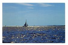 Boothbay Maine Postcard Boat Sun Water Breeze Sailboat Vintage Unposted