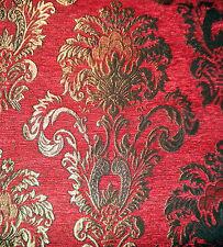 Polsterstoff Möbelstoff Stoff Barock Antik Neu Jaquard Chenille Webstoff Rot