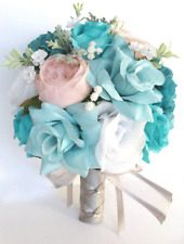 17 piece Wedding Bouquet package Bridal Silk Flowers AQUA BLUE TEAL PINK BLUSH