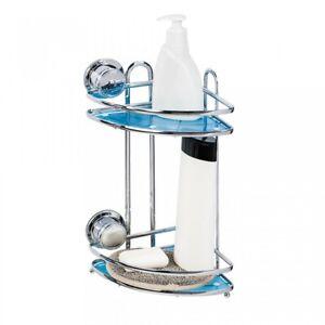 Tat kraft Vacuum Screw Conrad 2 Shelves Coner Rack with 2 Suction Cups 400-05712