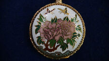 CLOISONNE MECHANICAL WATCH CHINA ORNATE FLOWERS BUTTERFLY BEI LEI CHAIN 17 JEWEL