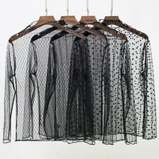 Womens sexy lace See-through Top Sheer Mesh Blouse Long Sleeve Net T-Shirt tops