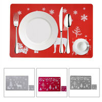 Xmas PVC Table Mats Placemats Christmas Coasters For Dining Home Kitchen Decor
