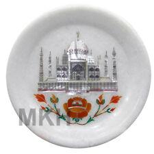 "Taj Mahal 5"" Marble Plate Floral Mosaic Decorative Marquetry Pietra Dura Vintage"