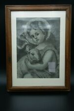 19TH ECCE AGNUS DEI - ST JOHN BAPTIST CHILD ORIGINAL CHARCOAL HAND MADE DRAWING