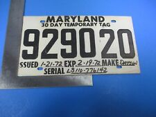 Vintage Temporary Maryland Datsun License Plate Tag Expired Feb.19 1977 M6089