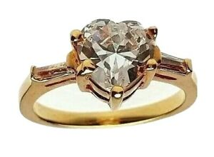 Gold Plated Heart Ring  Cubic Zirconia Sizes 10  vintage style
