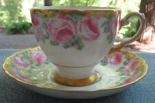 Tuscan Fine Bone China Cup and Saucer Ring of LG Pink Roses w Heavy Gold England