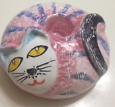 Pink Cat Candle Holder Italy Hand Painted Lovely Cue One