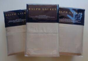 Ralph Lauren RL 624 Solid Sateen Cal King Sheet Set Deep Fitting Silver Gray NEW