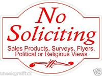 "Lot of 2 No Soliciting Die Cut Vinyl Decal Stickers 4"" Size"