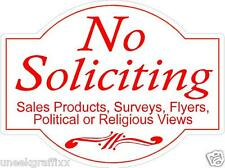 """Lot of 2 No Soliciting Die Cut Vinyl Decal Stickers 4"""" Size"""