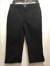 Women's Not Your Daughters Jeans Black Capri/Cropped Size 10P Rhinestone Buttons