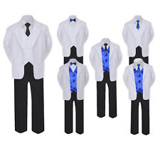 5-7pc Formal Black White Suit Royal Blue Bow Tie Neck Vest Boy Baby Sm-20 Teen