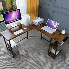 L-Shaped Corner Desk (56 Inch) Computer Desk with Wood Monitor Stand Riser