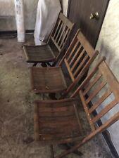 Vintage Mid Century MCM Wood Slat Folding Chairs Lot Of 3