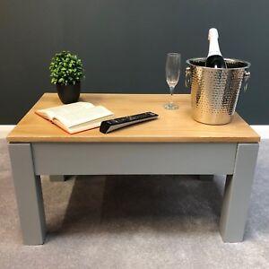 Painted Grey Oak Coffee Table / Living Room Solid Oak Coffee Table / York
