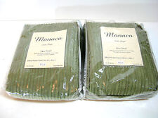 "Pair of 96""  Rod Pocket Panels, Monaco Polo Stripe, Olive Crinkle Polyester"