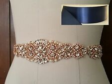 "Wedding Sash Belt - Rose Gold Crystal Pearl Sash Belt = 14 1/2"" long = NAVY"