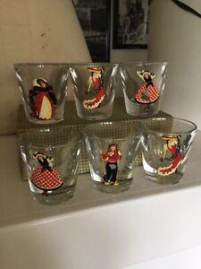 Vintage Mid Century Nudie Naughty Peek A Boo Shot Glasses Original Box Bar ware