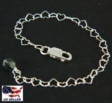 "4"" S Silver Necklace Extender Heart Chain & Clasp w/ Swarovski Black Diamond"