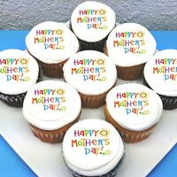"""Mothers Day Pre-cut 2"""" Edible Icing Cupcake Toppers - Sheet of 15"""